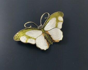 Butterfly Brooch -Hroar Prydz - Norway Sterling and Enamel  - Yellow & Green - No.001285