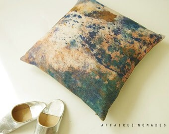 """Coral pink pillow / Sea seen by hill / Linen square art pillowcase  18""""x18""""...  /  FRAGMENTS"""