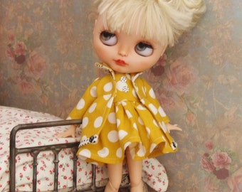 Ooak Custom Blythe Polka Dot Dress Coat Gold Mustard Yellow Black White Circles Buttons by Lily Rose