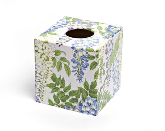 Silver Wisteria Tissue Box Cover wooden handmade perfect in homes/ hotels