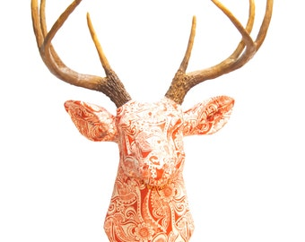 Deer Head Wall Mount -   Fabric Orange and White - Deer Head Antlers Faux Taxidermy - Stag Head - FAD03000