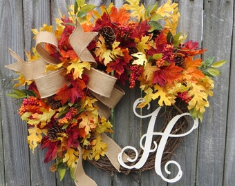 Wreath, Fall / Autumn Wreath with Burlap, Fall Wreath with Letter, Burlap Wreath, Fall Monogram Wreath ,Fall Leaves, Fall Gathering Wreath