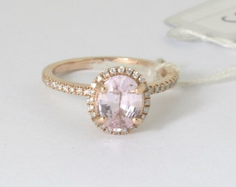 CERTIFIED Unheated natural peach champagne sapphire, 14k rose gold, oval sapphire engagement ring  Joan-1039
