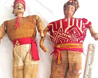 Primitive Columbian Dolls 1905 Staw stuffed Burlap Wrapped Wire Can be Posed