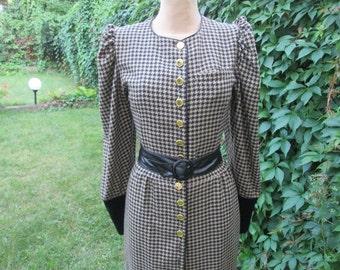 Wool Dress / Pencil Wool Dress / West Germany Dress / Dress Vintage / Woolen Dress / Office Dress / Buttoned Wool Dress / Size EUR40 / UK12