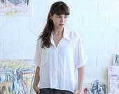 Final Summer Sale White Button Down Shirt, White crop top , White summer blouse.