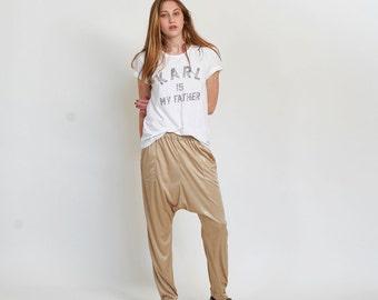 Sale 70 Off SALE! Metallic Drop Crotch Pants, Pearl
