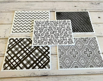 Blank Note Cards, Note Cards, Blank Cards, Note Card Set, Thank You Notes, Set of 5 Note Cards with Matching Envelopes, Black and White