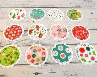 Christmas Gift Tags, Gift Tags, Holiday Gift Tags, Large Gift Tags, Circle Tags, Paper Tags, Hanging Tags, Set of 12 Large Scallop Gift Tags