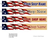 American Flag Patriotic Banner - You pick 1 of 8 Designs - Customized Etsy with Your Shop Name - Vintage Flag