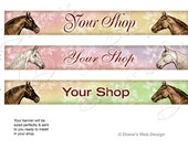 Horse Fantasy Etsy Banner - You pick 1 of 3 Horse Designs - Customized with Your Shop Name