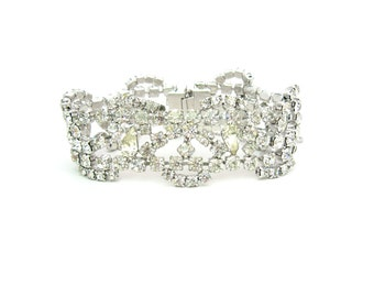 Wide Rhinestone Bracelet. Pear Cut Crystals, Rhodium Plated, Silver Tone.  Vintage 1960s Jewelry. Wedding, Special Occasion, 7.25 inches