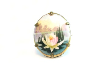 Edwardian Brooch. Hand Painted Porcelain. Water Lily Flower, Pond. Miniature Painting. Landscape Art. Antique 1910s Art Deco Jewelry