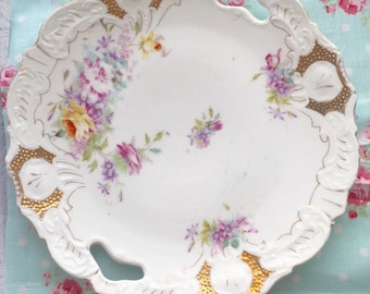 Beautiful Porcelain Plate with Roses, Shabby Chic Plate, China Roses Plate, Lilac ans gold