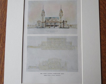 Union Station, Worcester, Massachusetts, 1911, Watson & Huckel, Architects. Hand Colored, Original Plan, Architecture, Vintage, Antique