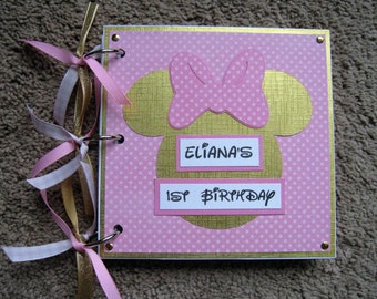 Disney Birthday Guest Book Minnie Mouse in Pink and Gold - Chipboard