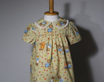 Vintage Handmade Baby Girl's Dress Size 12-18 months With Fall Theme
