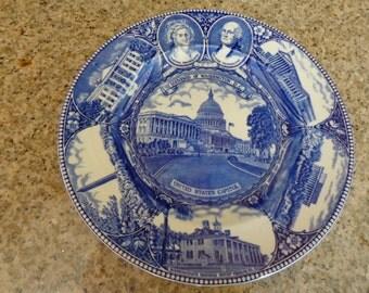 "Staffordshire China Blue & White Historical Plate/""Souvenir of Washington D.C."""
