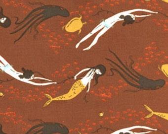 1FQ  MENDOCINO Underwater Sisters HR05 Brown Designer Heather Ross Free Spirit Westminster Quilting Sewing OOP!