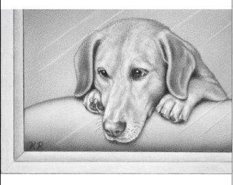 ACEO Art Print sad dog animal A Little While Feels Like Forever signed numbered limited edition produced from graphite drawing Karen Romine
