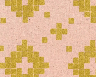 Mesa CANVAS Tile in Rose Metallic Gold, Alexia Abegg, Cotton+Steel, RJR Fabrics, Cotton and Linen Blend Canvas Fabric, 4014-12