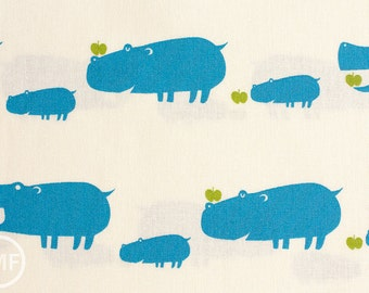 Hungry Hippos in Blue, Putidepome So Happy, Mico Design Works, Made in Japan, Cotton and Linen Blend Fabric, PTMF-078