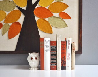 Vintage Orange, White, and Beige Book Set