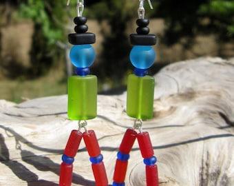 Sea Glass Men Earrings