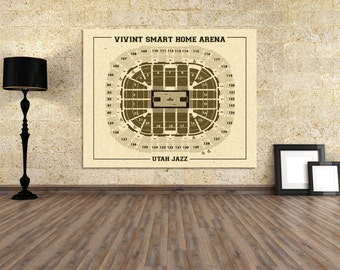 Vintage Print of Vivint Smart Home Arena Seating Chart on Premium Photo Luster Paper Heavy Matte Paper, or Stretched Canvas. Free Shipping!