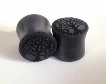 "Tree of Life Ebony Wooden Plugs PAIR any size 0g to 1 3/4"" (44mm) - 0g 00g 7/16"" 3/4"" 7/8"" 1"" 1 1/8"" + up  Wood Ear Gauges"