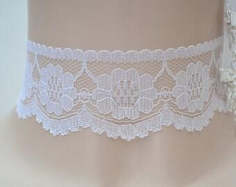 Classic Wide Gorgeous WHITE or BLACK LACE 40mm Scalloped Edge Ribbon Choker Necklace - kz.. hand made to order