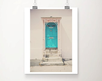 turquoise door photograph blue door print Lyme Regis photograph pink home decor England photograph English decor travel photography