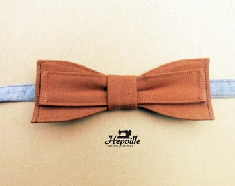 Selvedge Canvas Bow Tie - Light Brown - Single Piece - Free Shipping