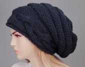 Big Sale -Slouchy beanie  oversized beanie hat winter knit hat for woman in dark blue ,navy -COLOR OPTION AVIABLE