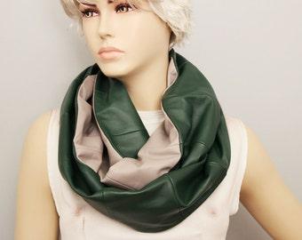 Infinity scarf genuine leather,Loop scarf ,woman scarf ,loop scarf leather,green grey