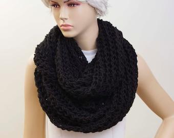 Black Chunky knit  loop infinity  scarf, crochet scarf , chunky crochet scarf ,big crochet scarf, COLOR option