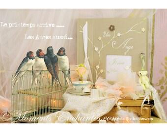 Livre d'or Baptême chic lin bis fleurs crochet journal de naissance garçon livre de souvenirs livre de vie personnaliser
