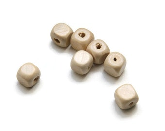 30 Square Wooden Beads,  Natural Wood Beads, Faceted Cube Wooden Beads, Wood Beads 12mm W 70 045
