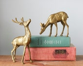Vintage Pair of Solid Brass Reindeer Deer Figurines