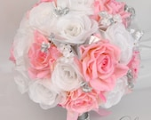 "RESERVED LISTING 22 Piece Package Silk Flowers Wedding Bridal Bouquet Bride Artificial Bouquets Centerpieces Grey ""Lily of Angeles"""
