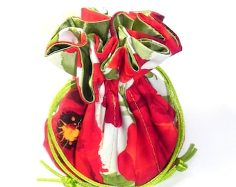 Jewelry Drawstring Travel Bag - Organizer Pouch - Red and green poppy flowers