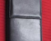 Black Leather Shoulder Strap Wallet by PELLE STUDIO