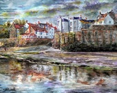 Robin Hood's Bay Yorkshire Coast English countryside LARGE Art Print of original watercolor painting by English Artist Stephen Russell