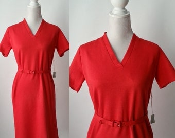 Vintage Dress, Red Vintage Dress, 1960s Red Dress, Red Rockabilly Dress, Vintage 60s Dress, Retro Red Dress, Red Polyester Dress, Belt