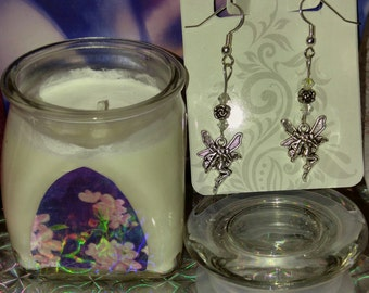 Soy Candle Love Spell type + Fairy Earrings