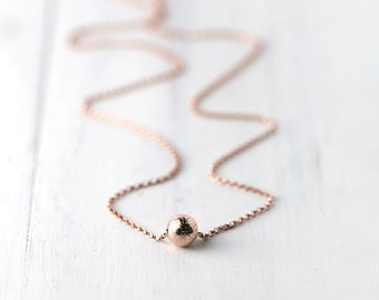 Rose Gold Filled Sparkle Necklace | Simple Rose Gold Jewelry | Glitter Dot Everyday Necklace | Burnish Jewelry