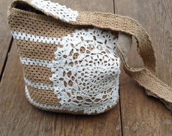 Crochet Tote Bag with a doily, cotton tote bag white and light brown stripes