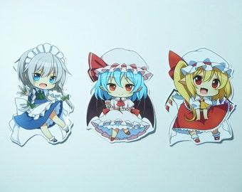 Touhou Project Art Sticker 3Pcs. Sakuya, Remilia, Flandre Free shipping