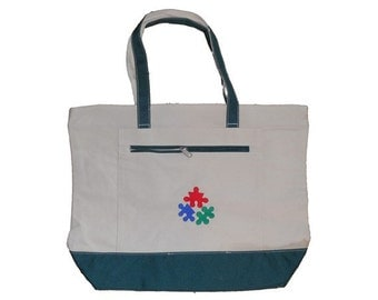 Autism Tote ~ Puzzle Piece ~ Embroidered bag laptop ASD Awareness