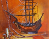 """Vintage Still Life in the style of  """"Vanita"""" or Vanity Painting with Ship, Candle"""